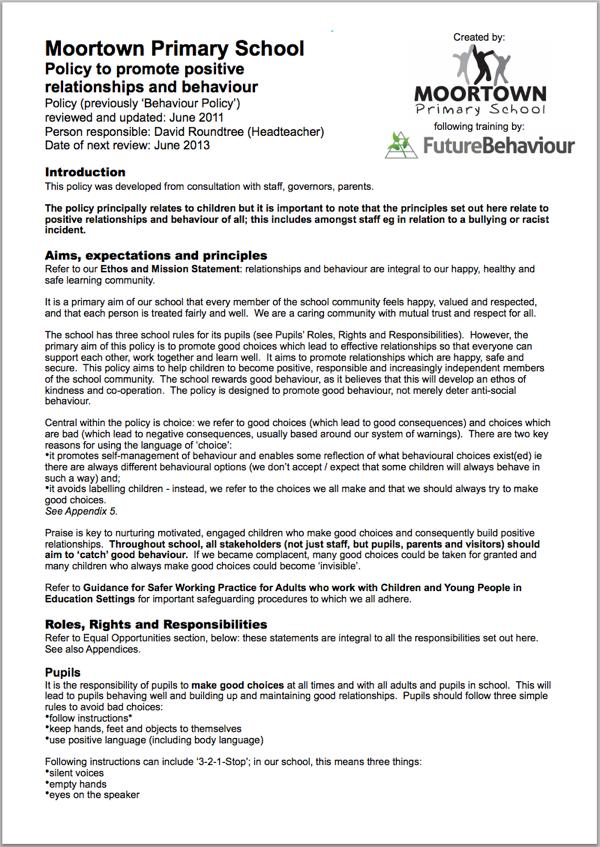 Behaviour Management Policy Screenshot