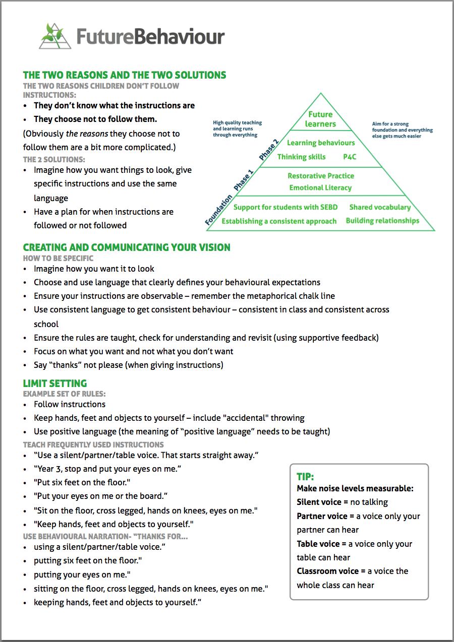 Behaviour Management Courses Handout